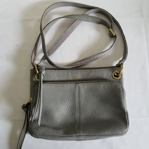 Fossil Small Gray Leather Crossbody Handbag